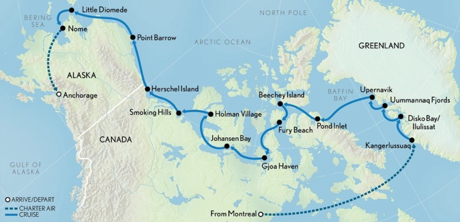 Northwest Passage cruise map