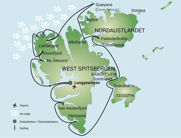 Svalbard cruise itineraries - Around spitsbergen