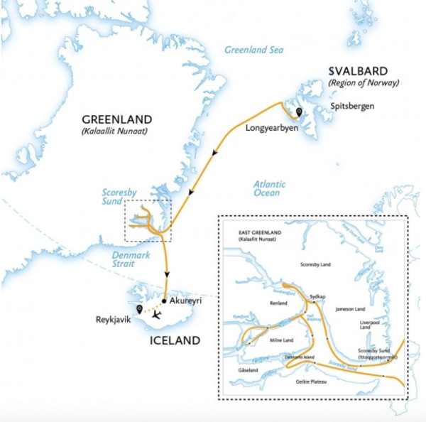 Svalbard cruise itineraries - Iceland, greenland and Svalbard