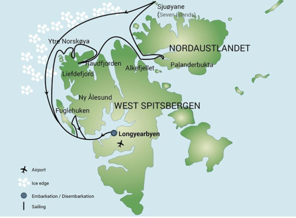 Svalbard cruise itineraries - North spitsbergen
