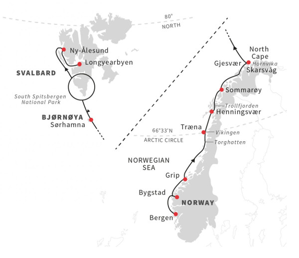 Svalbard cruise itineraries - Norway to Svalbard