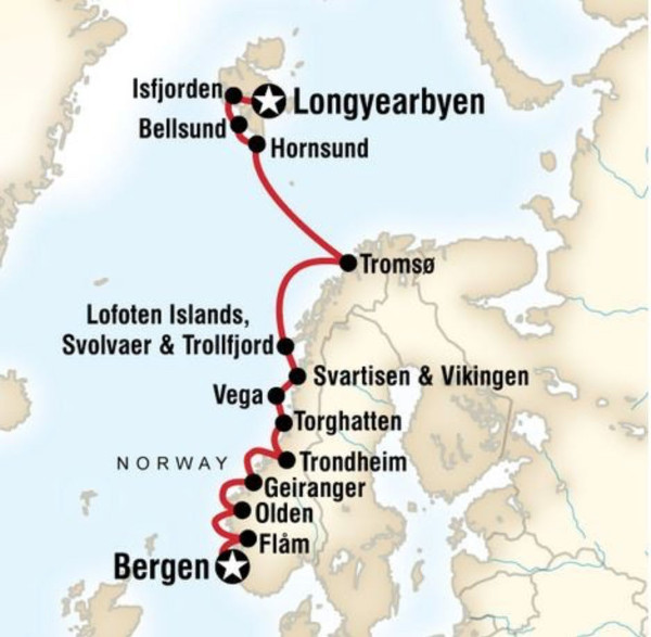 Svalbard cruise itineraries - Norwegian fjords and Spitsbergen
