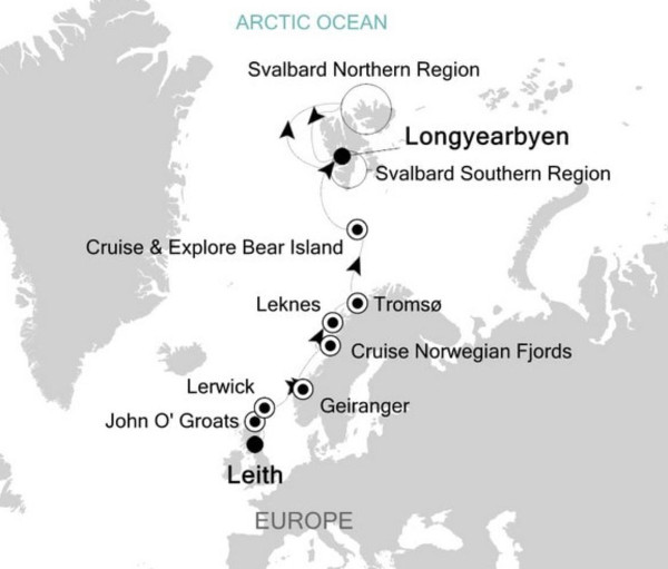 Svalbard cruise itineraries - Scotland, norway and Svalbard