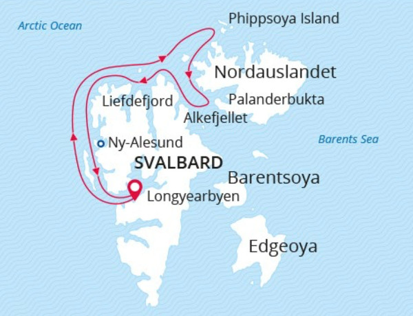 Svalbard cruise itineraries - West Svalbard