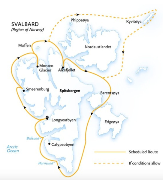 Svalbard in depth cruise itinerary